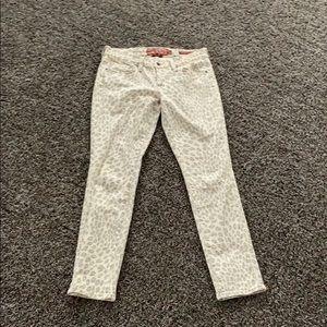 Lucky brand cream leopard print jeans